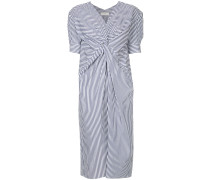 striped dress with ruched front