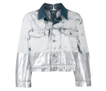 metallic-coated denim trucker jacket