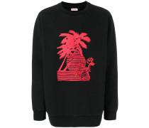 Sweatshirt mit Palmeninsel-Print
