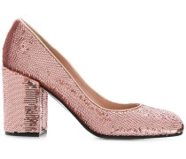 sequinned block heel pumps
