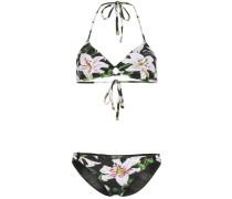 lily print ring-detail bikini