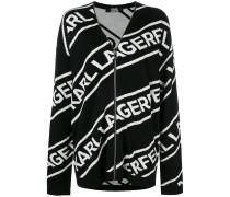 zipped logo cardigan