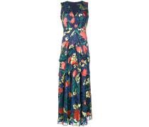Langes Volant-Kleid mit Blumenmuster