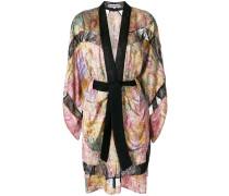 lace-trimmed printed kimono dress