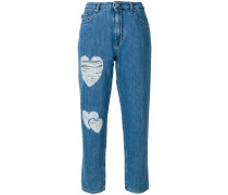heart patch straight jeans