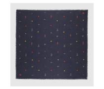 Cotton modal shawl with symbols