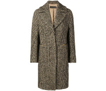 houndstooth pattern knitted coat