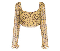 Cropped-Top mit Leoparden-Print