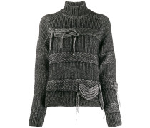 braided-stripe turtleneck jumper