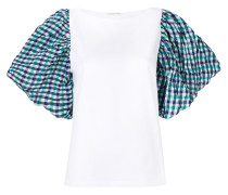 checked sleeve T-shirt