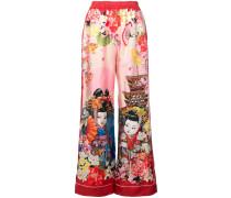 Seidenpalazzohose mit Geisha-Print