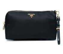 black logo makeup pouch with handle