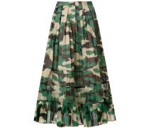 pleated camouflage midi skirt