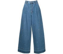 embellished wide-leg jeans