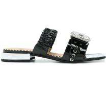 front medallion sandals