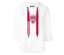 heart crest cropped sleeve hoodie