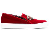 Seidensamt-Sneakers mit Kronen-Patch