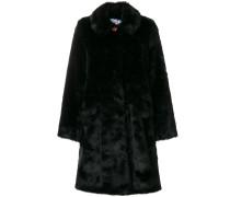 Faux-Fur-Mantel mit Kontrastknopf