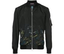 splatter print bomber jacket
