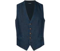 fitted denim waistcoat