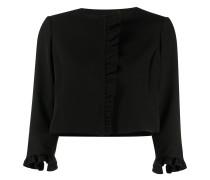 cropped ruffle trim jacket