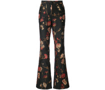 floral bootcut trousers