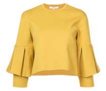 bell-sleeve sculpted blouse