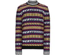 Intarsien-Pullover mit Logo-Muster