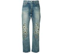 knee eyelet jeans short length