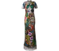 voile overlay evening dress