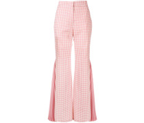 gingham pleated flared trousers