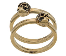 two-piece skull ring set