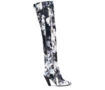 Overknee-Stiefel mit Blumen
