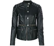 eyelets embellished leather jacket