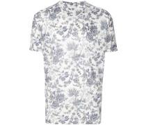 Leinen-T-Shirt mit Blumen-Print
