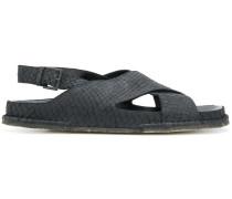 snakeskin effect crossover sandals