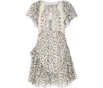 ruffle sleeve crochet trim empire dress