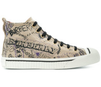 High-Top-Sneakers mit Kritzel-Print