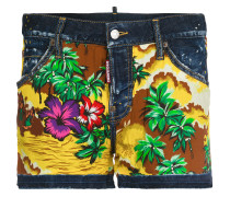 Hawaiian print denim shorts