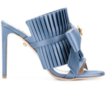 pleated bow stiletto sandals
