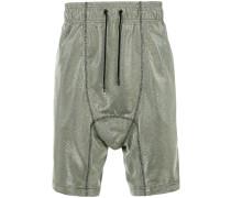 metallic woven drop crotch shorts