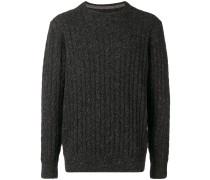 Melierter Pullover mit Zopfmuster