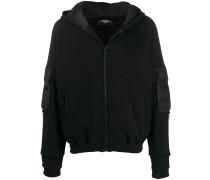 dual-fabric hooded jacket