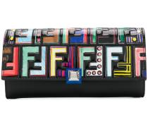 Längliches Portemonnaie mit bunten Logos