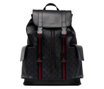 black logo red striped backpack