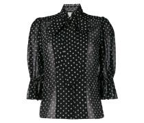 Gepunktete Bluse mit Cropped-Ärmeln