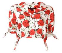 Cropped-Bluse mit Rosen-Print