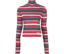 striped rib knit turtleneck sweater