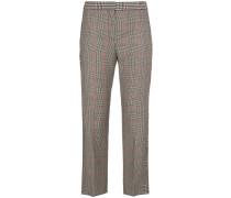 mid rise checked cropped trousers