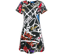 graffiti print fitted dress